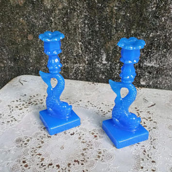 Mid Century MMA Metropolitan Museum of Art Imperial Blue Glass Dolphin Candlestick Holders
