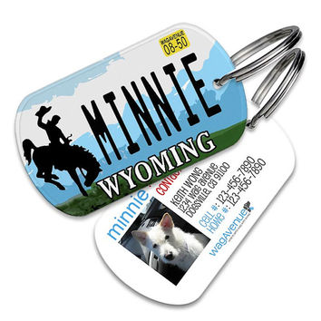 Wyoming License Plate Pet Tag - Personalized Pet ID Tags, Custom Dog Tags, Cat ID Tag, Dog Name Tags, Dog Tags for Dogs, Collar Tag