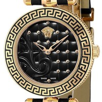 VERSACE Quartz Ladies Watch Micro VANITAS Black Dial Leather Belt VQM100016