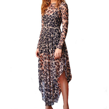 Vestidos Long Sleeve Maxi Slip Dress Cheetah Print Floral Lace Dress Low Scooping Back Asymmetrical Hem Sexy Dresses With lining