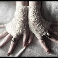 Winter Blossom Lace Gloves by ZenAndCoffee