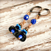 black and blue flower copper lever back earrings