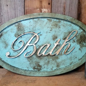 Shabby chic BATH SIGN rustic home decor bathroom aqua aged distressed cottage primitive photo prop gift wall hanging