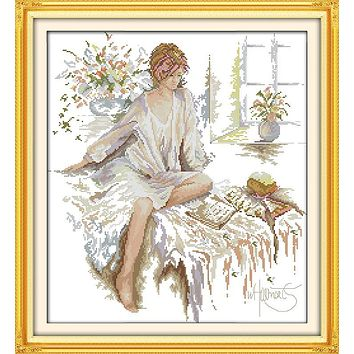The Reading Woman Patterns Counted Cross Stitch 11CT 14CT Cross Stitch Sets Chinese Cross-stitch Kits Embroidery Needlework