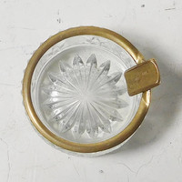 Small Crystal Ashtray With Brass Trim And Brass Cigarette Holder Compact Vintage