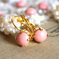Pink and gold earrings - 14k gold plated earrings with real pink swarovski pearls .