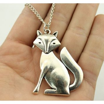 Fashion Antique Silver Plated Fox Animal Pendant Necklace