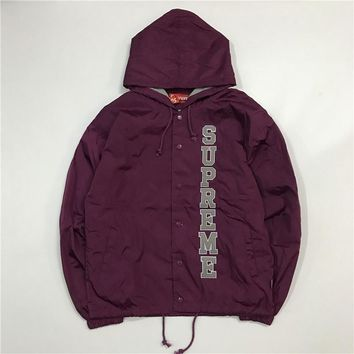 Supreme 17ss Vertical Logo Hooded Coaches Jacket S-XL - Purple