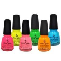 LOT of 6 China Glaze Nail Polish POOLSIDE SET Collection .5 oz Lacquer Manicure:Amazon:Beauty