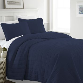 Soft Essentials™ Premium Ultra Soft Square Pattern Quilted Coverlet Set - Queen - Navy Case Pack 9