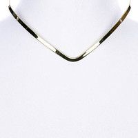 NECKLACE / V SHAPE METAL / CHOKER / OPEN END / 10 INCH LONG / 1/4 INCH DROP / NICKEL AND LEAD COMPLIANT