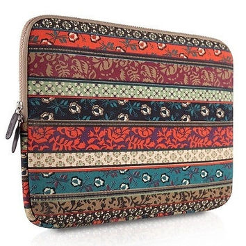 Bohemian Style Canvas Fabricipad 14 inch Air/netbook / Laptop / Notebook Computer / Macbook Air Sleeve Case Bag Cove = 1928618564