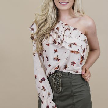 Revolution Floral One Shoulder, Blush