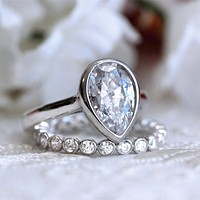 Ring For Women S925 Sterling silver 3.6CTW Pear Cut Simulated Diamond with gold Engagement Wedding Rings Art Dec bague