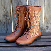 sweet lacy combat boots in cognac
