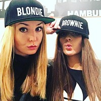 BLONDIE BROWNIE Letter Embroidery Baseball Cap Flat Bill Men Women Acrylic Gifts Hip Hop Hat For Him Her Trucker Snapback Hats