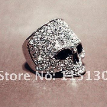 ICIKHY9 Vintage Europe a silver colored Simulated Diamond skull rings for men Rock Punk Gold Ring Fashion Jewelry Free shipping