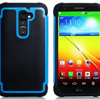 2-in-1 Ball Grain Plastic & Silicone Protective Case for LG Optimus G2 D801 D802 (Blue)