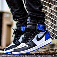 Nike Air Jordan Retro 1 High Tops Contrast Sports shoes Blue Black G-CSXY d507a7960f10