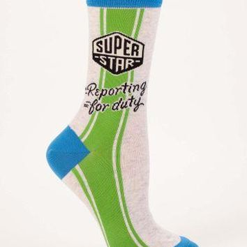 Super Star Reporting for Duty Crew Socks