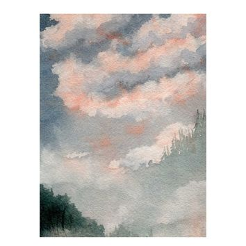Scenic Art, Fall Art, Mountain Scene, Autumn Landscape Painting, Watercolor Print, Watercolor Landscape, Misty Mountains, Woodland Art
