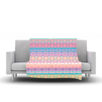 "Nina May ""Denin & Diam New Mexico"" Pastel Fleece Throw Blanket"
