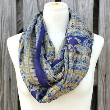 Infinity Scarf - Beautiful Upcycled VINTAGE Silk SARI SCARF - Deep Blue with Gold Silver-Gray
