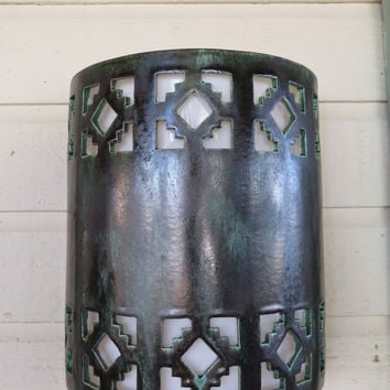 Outdoor Cortez Cutout with Malachite Glaze Wall Light handmade in the USA