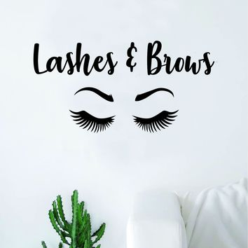 Lashes and Brows Beautiful Design Decal Sticker Wall Vinyl Decor Art Make Up Cosmetics Beauty Salon MUA Teen Girls