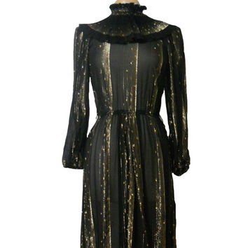 Vintage Dress Black and Gold Metallic Sheer Fabric Long Sleeve Midi Dress with High Pleated Collar and Striped Pattern - Janelle - Size 6