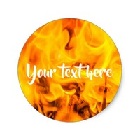 Fire and flames classic round sticker