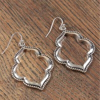 Hollow Deco Earrings Silver