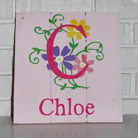 Handmade Hand Painted Monogram Wood Sign Children