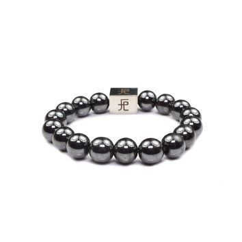12mm Genuine Insignia Mens Stretch Bracelet - Black Hematite
