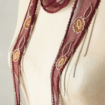 Embroidered Bloom Skinny Scarf