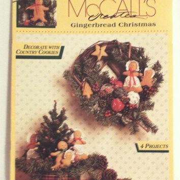 Floral Craft Projects Vintage 90s Gingerbread Christmas Decorate With Country Cookies McCalls Creates DIY Rag Balls Wreaths Bell Pull Book