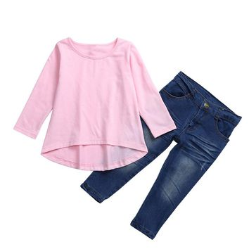 Toddler Baby Kids Girls Outfit Clothes Long Sleeve T-shirt Tops+Jeans Pants 1Set