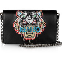 KENZO | Tiger-embroidered leather shoulder bag | NET-A-PORTER.COM