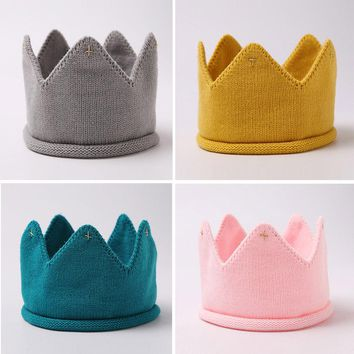 2017 Fashion Colorful Baby Newborn Photo Props Kids Caps Baby Crown Knitted Headband Hat Photography Accessories Birthday Cap