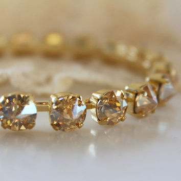 Champagne Bangle, Swarovski Crystal, Golden Shadow, Wedding Jewelry, Bridesmaid Gift, Gold Crystal Bangle