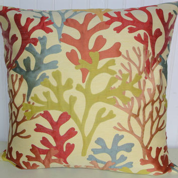 Decorative Pillow Cover- 18x18 or 20x20 or 22x22  Floral Throw Pillow- Green, Blue, Red, Orange