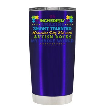 TREK An Amazing Smart Talented Kid with Autism on Intense Blue 20 oz Tumbler Cup