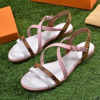 Louis Vuitton LV Women Fashion Buckle Flats Sandals Shoes