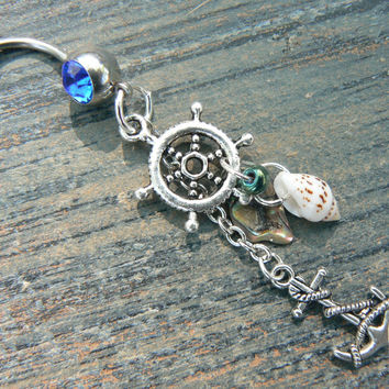nautical belly ring with ship wheel anchor abalone  and seashells