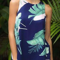 Navy Round Neck Sleeveless Leaf Print Layered Chiffon Top