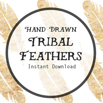 Hand Drawn Tribal Feathers Digital Clipart, Tribal Clipart, Boho Clipart, Feather Printable, Feather Clipart, Feather Clip Art.