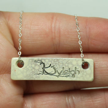 Personalized  Bar necklace Pottery pendant Bubble glaze