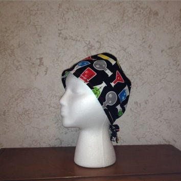 Science Lab Beakers and Flasks Surgical Scrub Cap Chemo Hat