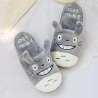 Totoro Cute Cat Cartoon Animal Women/men Couples Home Slipper For Indoor House Bedroom Flats Comfortable Warm Winter Shoes