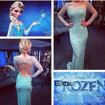 Frozen Elsa Evening Dress Mermaid Full Sleeve Tulle Blue Crystal Floor Length Backless Prom Dresses Evening Dress 2014 New Arrival